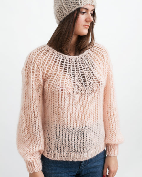 Mohair Pleated Sweater in Nude - Founders & Followers - Maiami - 1