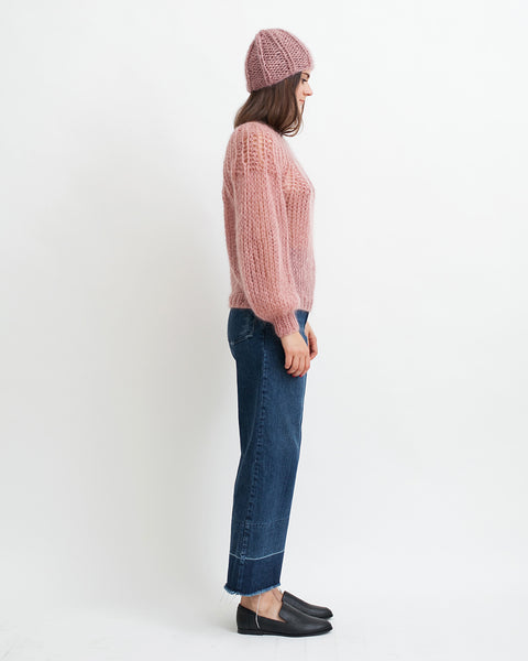 Mohair Pleated Sweater in Pink - Founders & Followers - Maiami - 3
