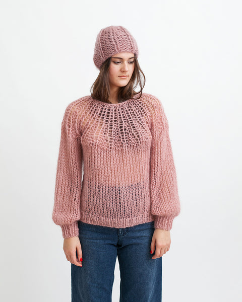 Mohair Pleated Sweater in Pink - Founders & Followers - Maiami - 6