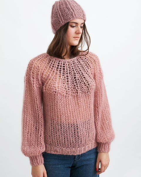 Mohair Pleated Sweater in Pink - Founders & Followers - Maiami - 1