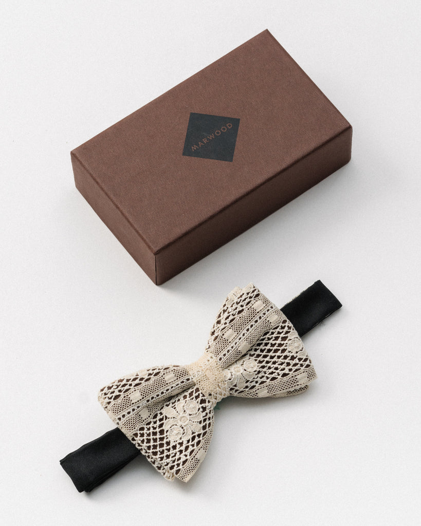 Black & White Mesh Lace Bow Tie