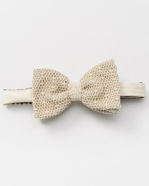 White Mesh Lace Bow Tie