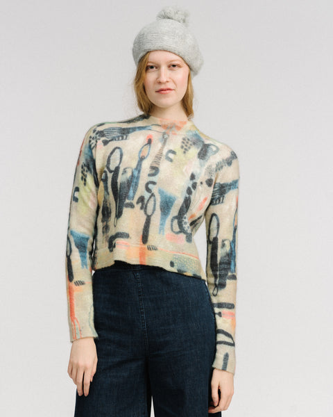 Dash printed mohair pullover