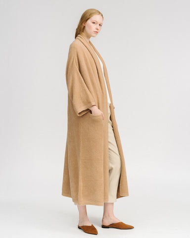 Haori knit coat extra long in camel