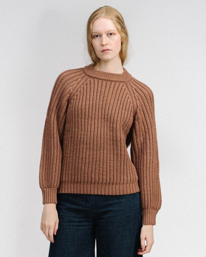 Miter rib pullover in copper