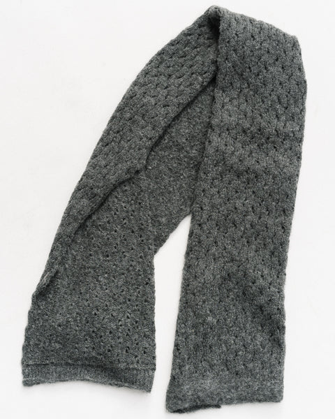 Lace alpaca scarf in charcoal