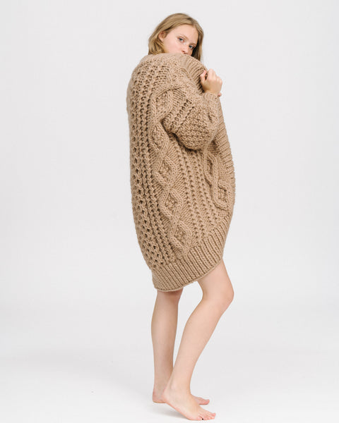 Aran wool coat in taupe