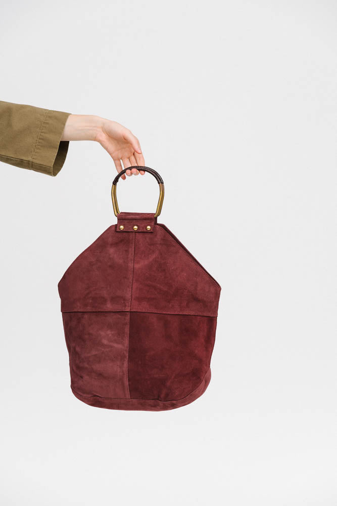 Holden Bag in burgundy suede