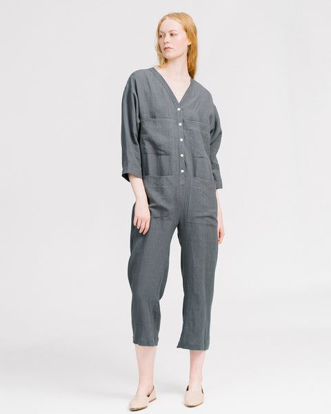 Tuck overall in grey