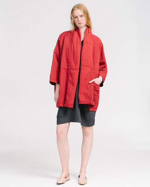 Haori coat in mahogany red