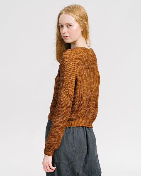 Luna cashmere alpaca sweater in amber