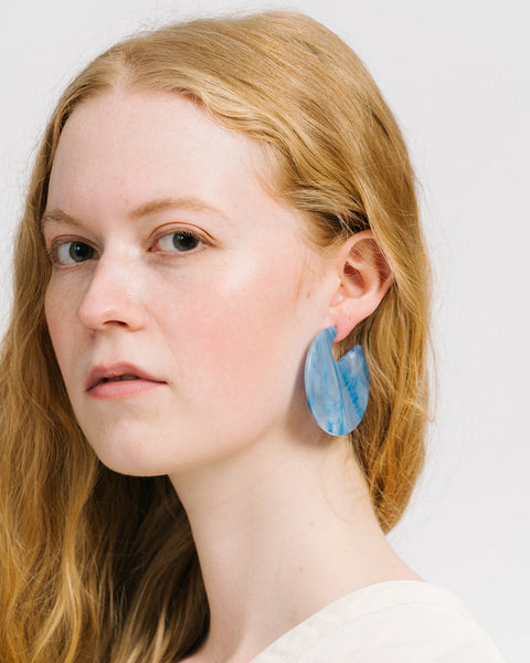 Camille earrings in blue marble