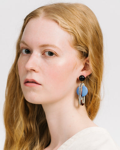 Lohr earrings in striped shell & blue