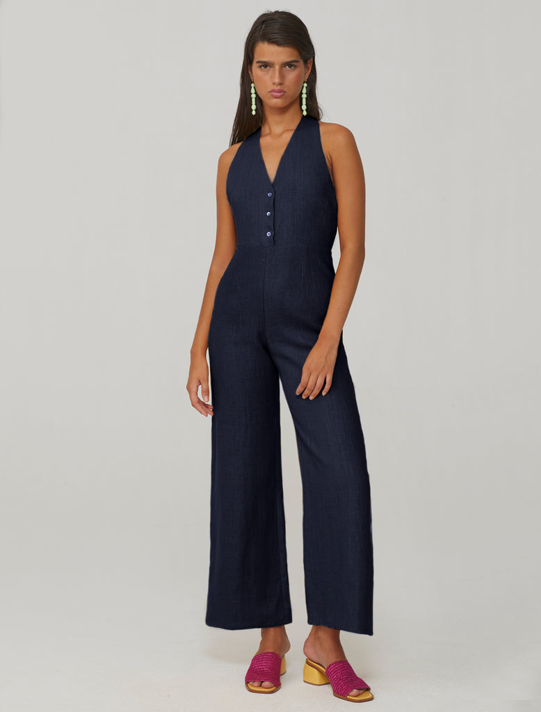 Beirut linen jumpsuit in navy