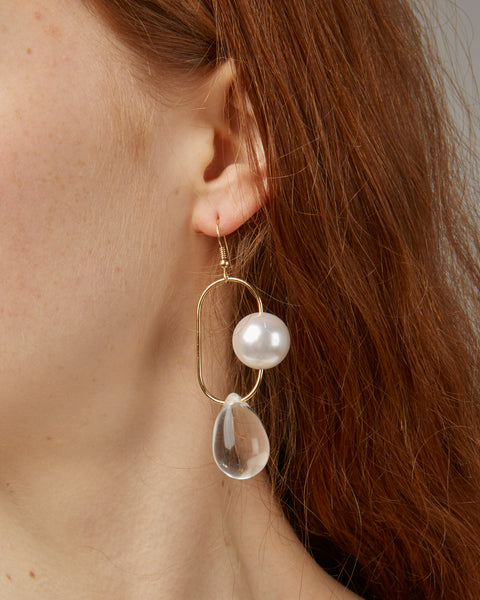Bitter Sweet earrings in pearl and clear glass