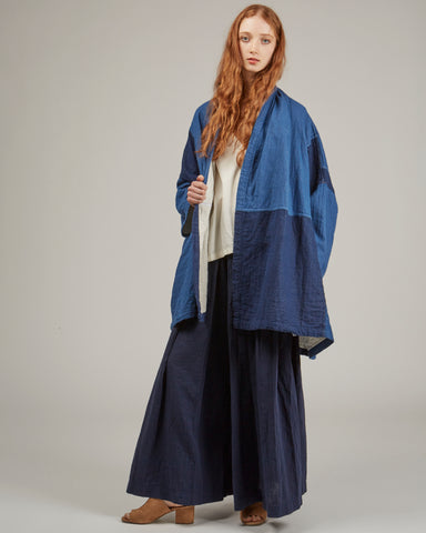 Haori patchwork denim coat