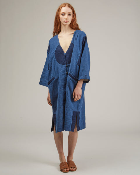 Gillian coat in patchwork denim