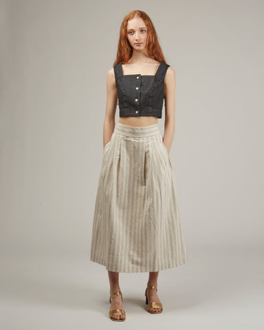 Ellis pleated skirt in stripe