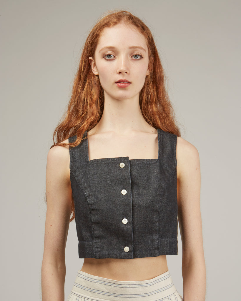 Ginny crop denim top