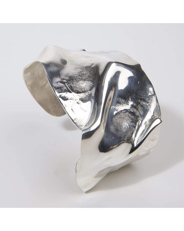 Wide Folded Silver cuff with skin imprint