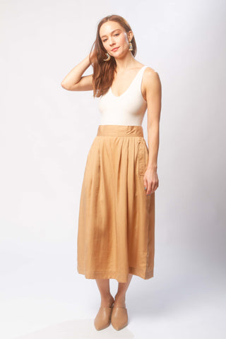 Ellis pleated skirt in ecru