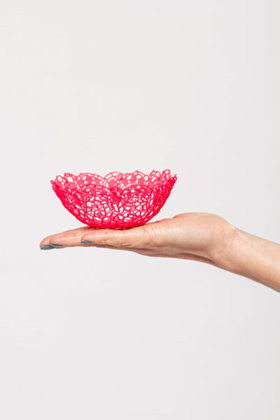 Neon pink lace bowl
