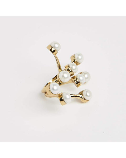 Twisted wire gold maxi ring with pearls