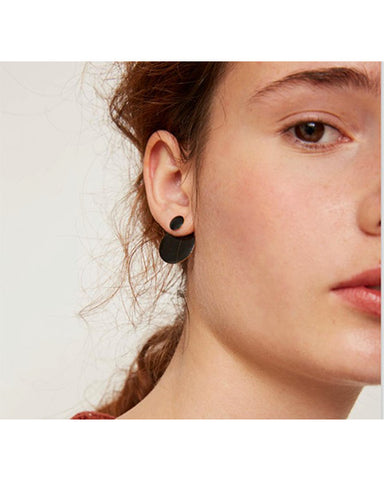 Bi-position disks earrings in black