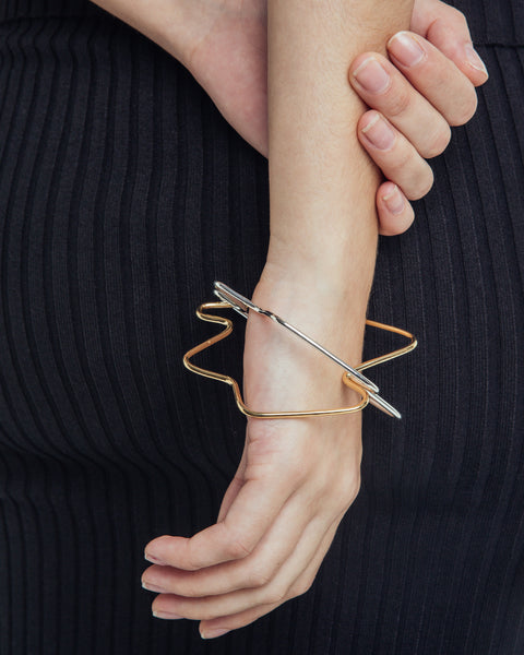 Stressed Out Bangle in Gold - Founders & Followers - Faux/Real - 3