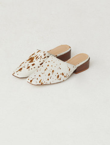 Celia cow hair mules