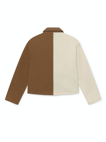 Coyote bicolored jacket in white & tan