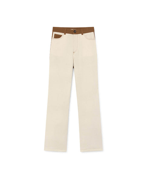 Dax bicolored pants in white & tan