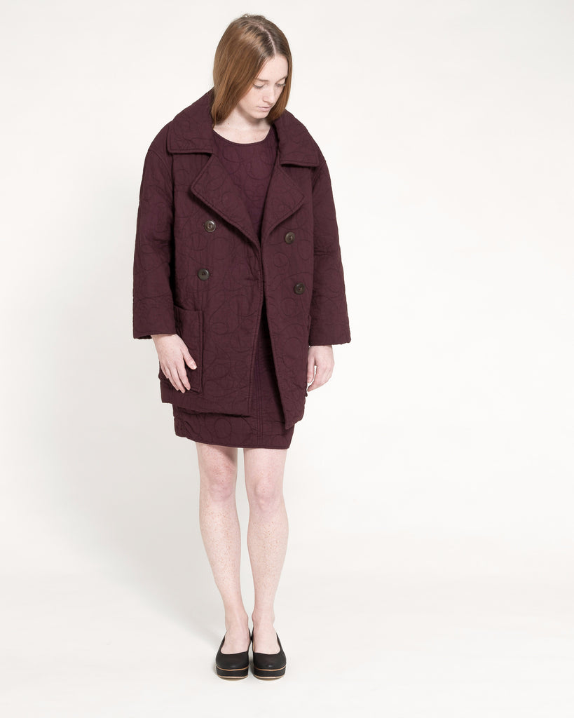 Quilted Levin Coat in Raisin - Founders & Followers - Caron Callahan - 1