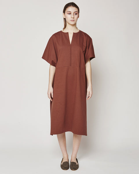 Terry Poncho dress in in Marsala