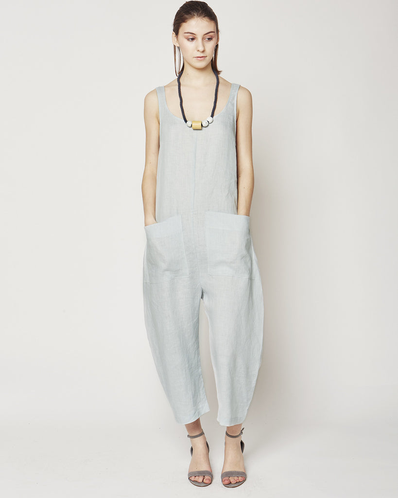 Gary Jumpsuit in smoke linen