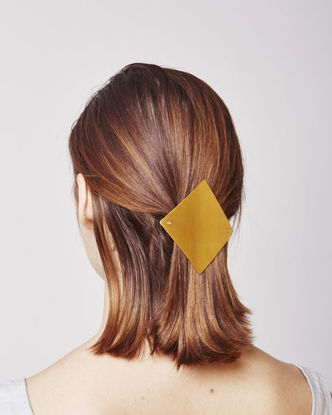 Barrette lozenge 084 in shiny gold