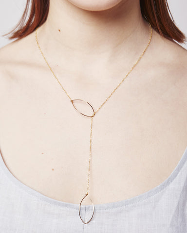 Long Lariat with Hanging Ovals Necklace