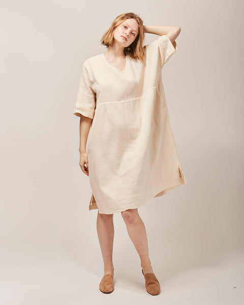 Ella shirt dress in kinari white