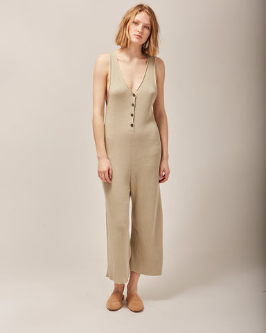 Rib jumpsuit in salt