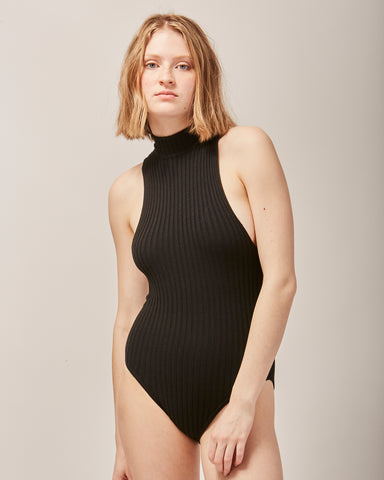 Nonna sleeveless leotard in black