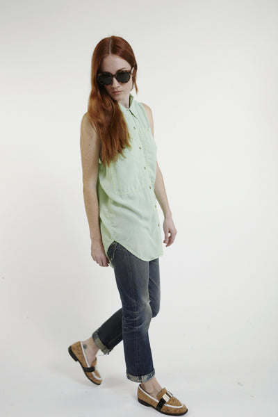 Oscar Silk Workshirt in Mint - Founders & Followers - LF Markey - 3