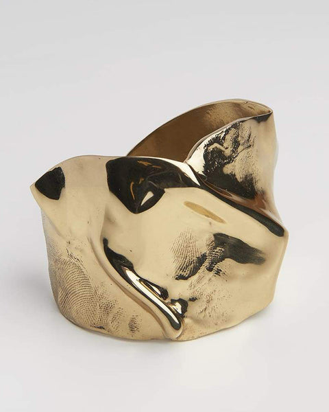 Wide Folded Gold cuff with skin imprint