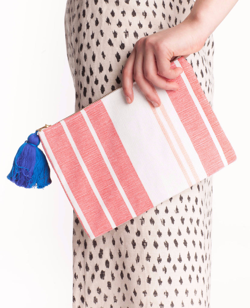 Small Woven Clutch in Stripe - Founders & Followers - Proud Mary