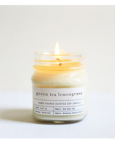 Green tea Lemongrass Mason jar Candle - Founders & Followers - Brooklyn Candle Studio - 1
