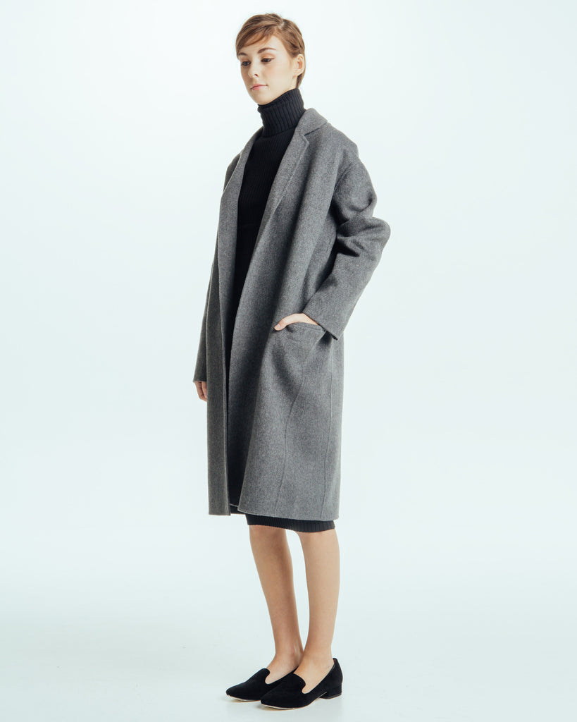 Handmade Long Coat in Grey - Founders & Followers - Achro - 1
