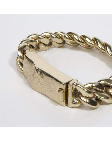 Heavy chain bracelet with molded clasp in brass