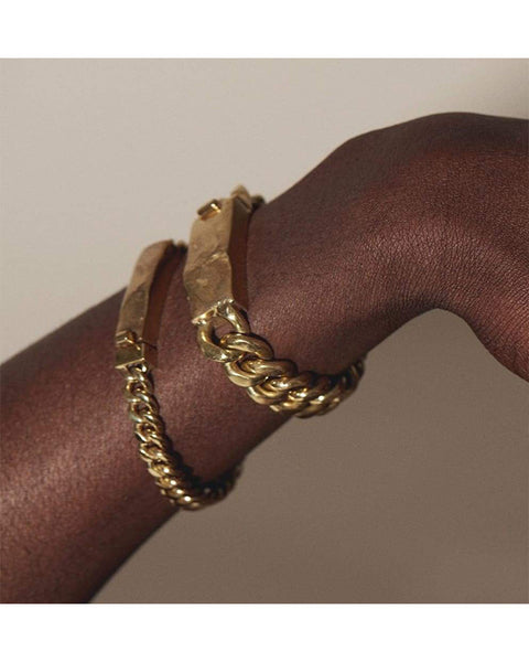 Chain bracelet with molded clasp in brass