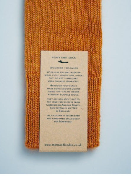 Heavy Knit Mohair Socks in Mustard