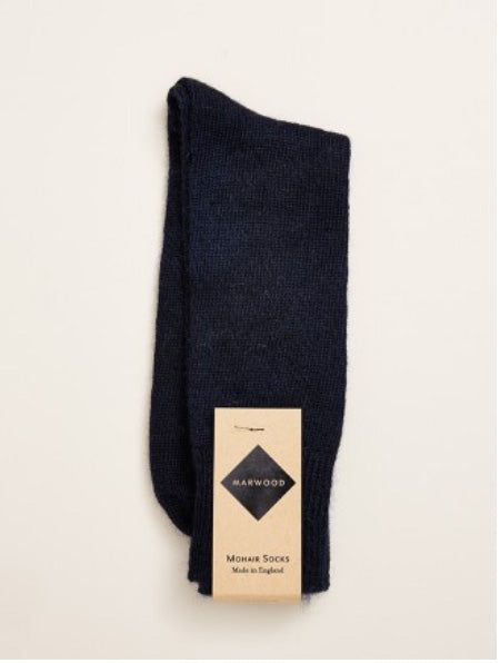 Plain Knit Mohair Socks in Navy