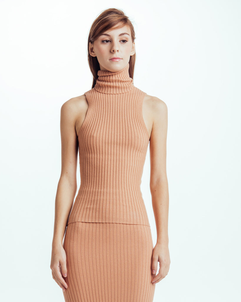 Nonna sleeveless turtleneck in Bandaid - Founders & Followers - Giu Giu - 1